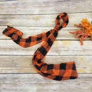 ⬇️⬇$25 Scarf Orange Black Buffalo Plaid Check Prin